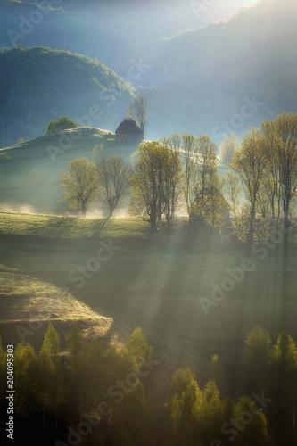 Aluminium Zonsopgang Beautiful summer sunrise in Transylvania