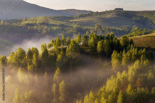 Canvas Natuur Beautiful summer sunrise in Transylvania