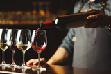 Bartender pours red wine in glasses on wooden bar counter - 204096776