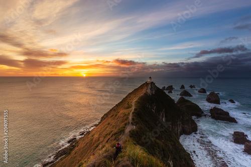 Fotobehang Vuurtoren Nugget Point Lighthouse is famous landmark in south island, New Zealand.