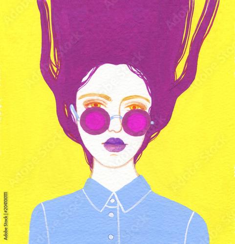 beautiful woman. fashion illustration. watercolor painting - 204100111