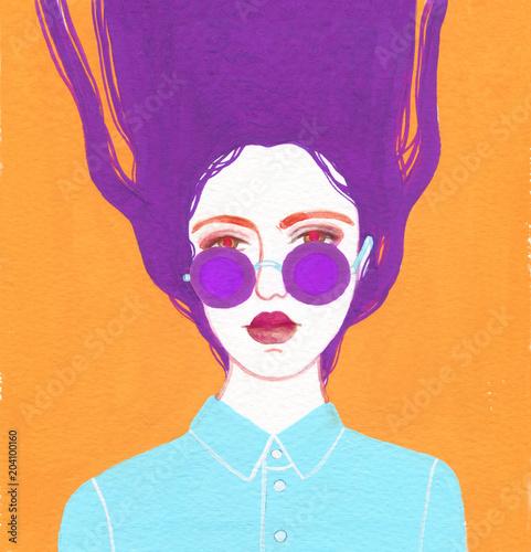 beautiful woman. fashion illustration. watercolor painting - 204100160