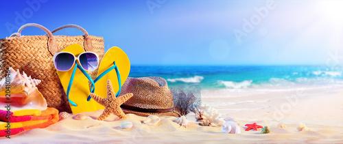 Beach Accessories On Seashore...