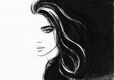 beautiful woman. fashion illustration. watercolor painting - 204102306