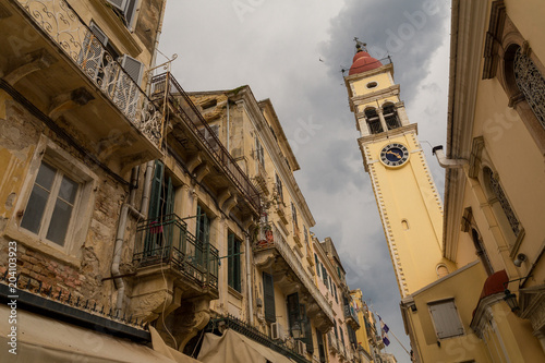 st spiridon church in  corfu island city, alleys houses buildings , Greece