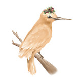 Hand painted, oil textured beautiful bird on branch with floral wreath, isolated on white - 204105180