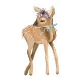 Cute deer, hand painted deer oil textured baby deer with floral wreath, flowers bouquet and tied bow - 204105314