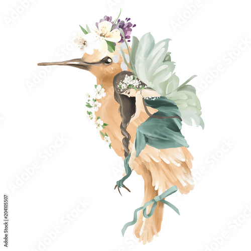 Beautiful hand painted oil fairy riding the enchanted bird with floral bouquet, flowers wreath isolated on white - 204105507
