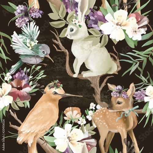 Beautiful, vintage, enchanted woodland, forest animals and birds with flowers, old wood branches and bows seamless, tileable pattern. Deer, bunny, bird, whimsical animals - 204106126