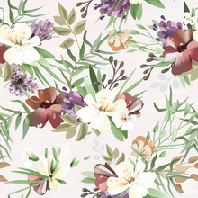 Beautiful Vintage Hand Painted Oil Textured Forest Woodland Wild Flowers Floral Seamless Tileable Pattern Sticker