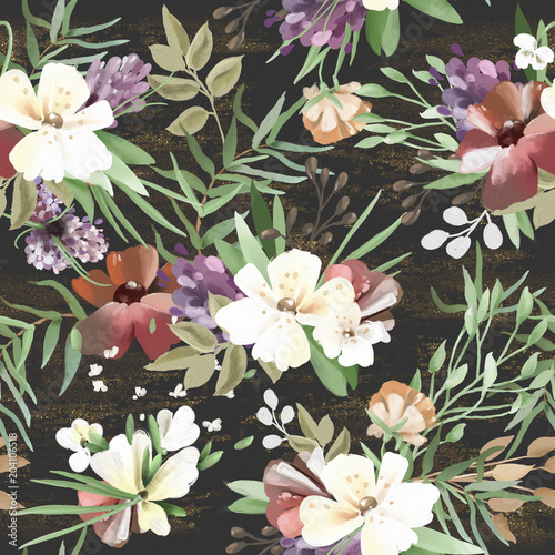 Cotton fabric Beautiful, vintage, hand painted oil textured forest, woodland wild flowers, floral seamless pattern with golden glitter, grunge texture on dark background