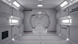 Fototapeta Do przedpokoju - 3D Render. Futuristic spaceship interior corridor © Miguel Aguirre