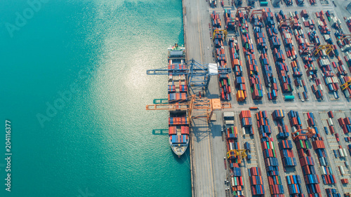 Plexiglas Thailand Container ship in export and import business and logistics. Shipping cargo to harbor by crane. Water transport International. Aerial view and top view