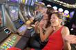 Quadro friends in casino on a slot machine