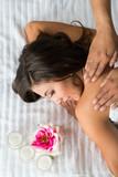 Hispanic Woman Getting Massage