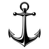 Vector illustration, monochrome sea anchor icon isolated on white background. Simple shape for design logo, emblem, symbol, sign, badge, label, stamp.