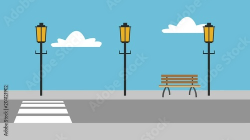 Street and acera urban scenery concept High Definition animation colorful scenes