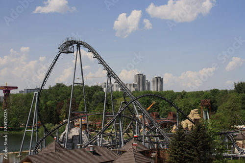 Fotobehang Amusementspark Rollercoaster, park rozrywki w Chorzowie