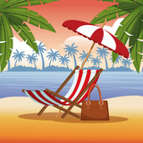 Beach and summer cartoon elements vector illustration graphic design - 204127127