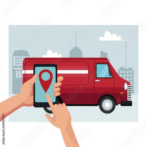 Delivery van truck service vector illustration graphic design