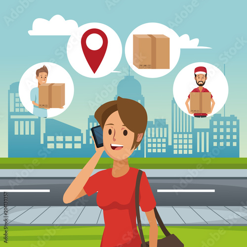 Poster Woman talking with delivery service vector illustration graphic design