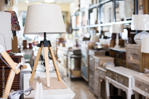 Vintage furniture and home design objects in shop