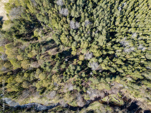 Canvas Stenen drone image. aerial view of rural area with river in forest from above