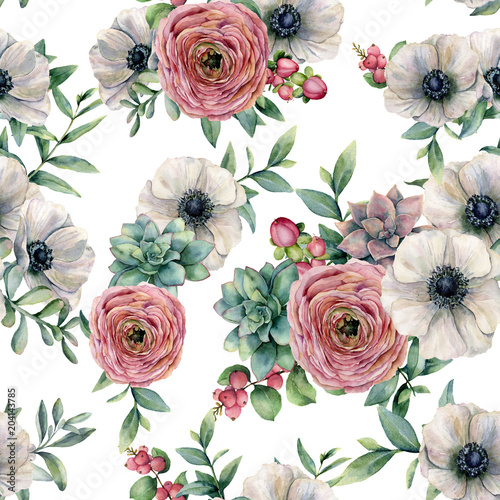 Watercolor seamless pattern with succulent, ranunculus, anemone. Hand painted flowers, eucaliptus leaves and succulent branch isolated on white background. Ilustration for design, print or background. - 204143785
