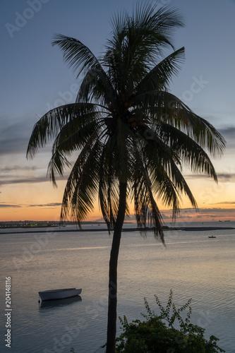 Plexiglas Strand Sunset on Mauritius island