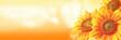 Leinwanddruck Bild - Wunderschöne Sonnenblume mit einer Biene