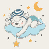 Cute dreaming bear cartoon hand drawn vector illustration. Can be used for t-shirt print, kids wear fashion design, baby shower celebration greeting and invitation card. - 204154980