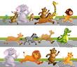 Animals Running Race at Finish Line