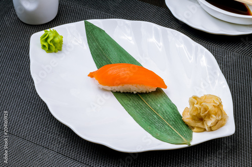 Fotobehang Sushi bar sushi salmon on a plate