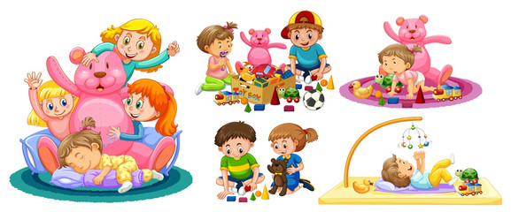 Kids Playing with Toys on White Background