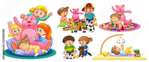 Fototapeta Kids Playing with Toys on White Background