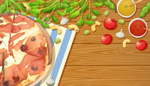 Plexiglas Kids Parma Ham Pizza on Wooden Table