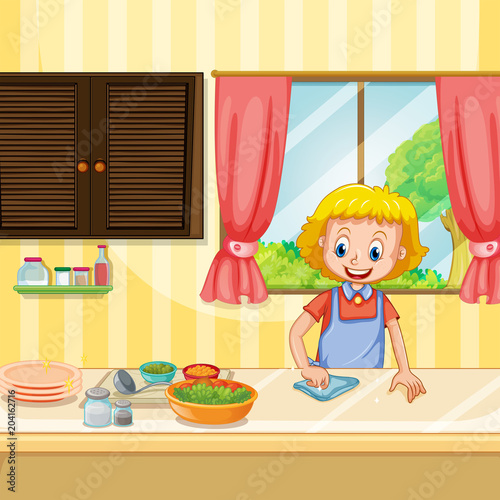 Plexiglas Kids Mother Cleaning and Preparing Food in Kitchen