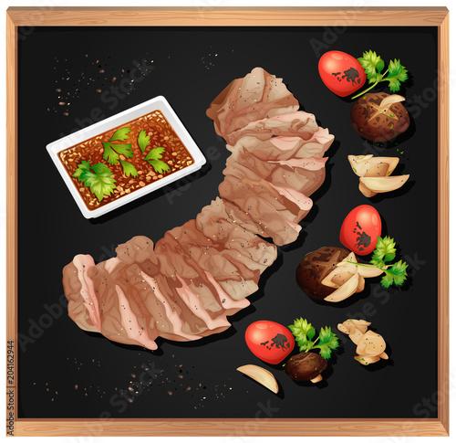 Plexiglas Kids Steak and Spicy Sauce on Blackboard
