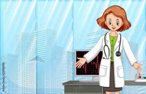 Plexiglas Kids A Doctor in Modern Hospital