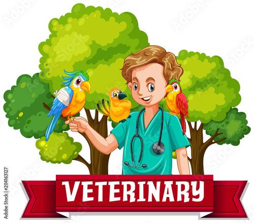 Plexiglas Kids Veterinary Banner with Colourful Bird