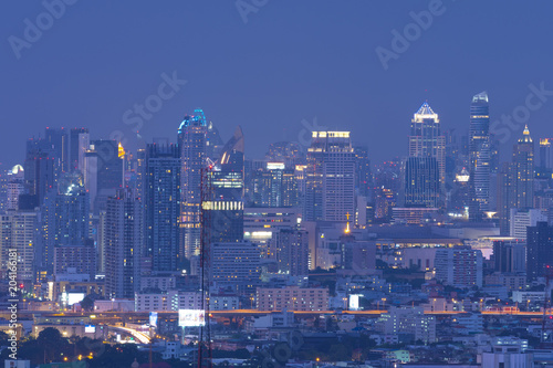 Canvas Bangkok Modern city skyline at night.