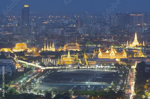 Foto Murales Bangkok iconinc place. Wat Phra Keaw, Grand Palace, and Wat Arun.