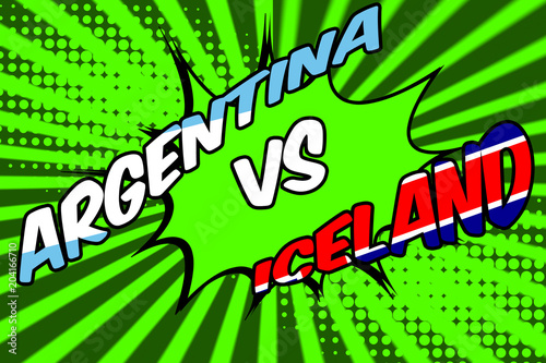 In de dag Pop Art Argentina against Iceland in soccer concept with a pop art comic book cartoon poster of the country names with the flag superimposed against a green background resembling a football pitch