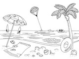 Sea coast beach graphic black white landscape sketch illustration vector - 204181908