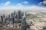 Aerial view of the Emirate of Dubai with blue sky over the desert