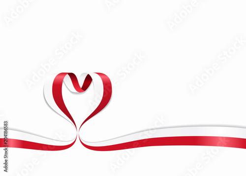 Polish flag heart-shaped ribbon. Vector illustration.