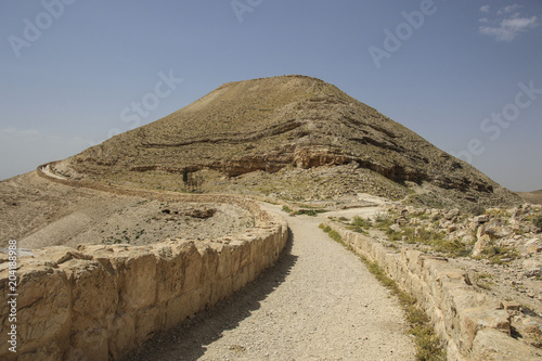 view to the machaerus and herod castle ruins jordan place of