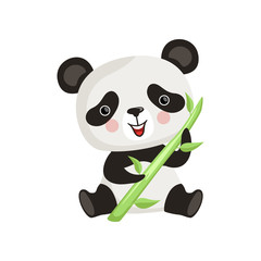 Panda with pink cheeks sitting on floor and holding green bamboo stick. Tropical animal. Flat vector design for children book or postcard