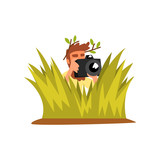 Professional male photographer paparazzi hiding in tall grass with photo camera vector Illustration on a white background - 204191185