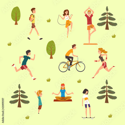 People doing physical activity outdoors, men, women and kids running, walking, skateboarding, cycling and practicing yoga in the park, fitness and healthy lifest.yle vector Illustration